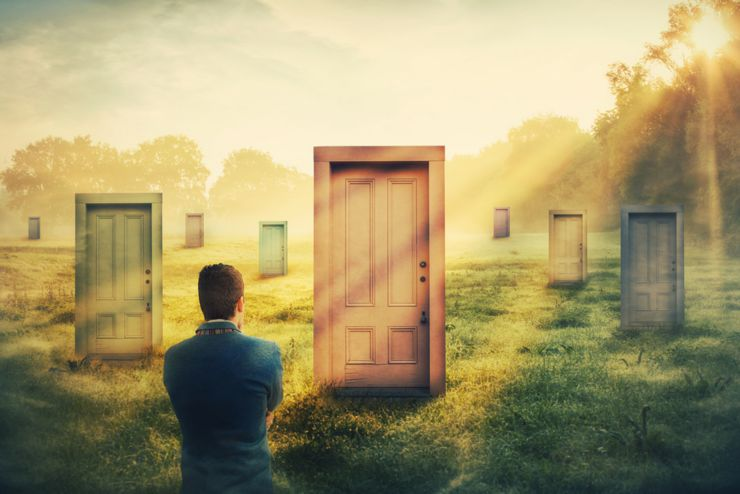 Rear view man in front of many different doors choosing one. Difficult decision, concept of important choice in life, failure or success. Ways to unknown future career development. Opportunity symbol.
