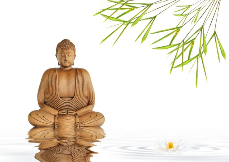Zen abstract of a buddha in prayer in a garden with bamboo leaf grass and lotus lily flower with reflection over rippled gray water over white background.
