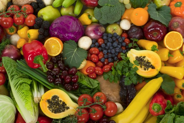 Organic healthy vegetables and fruits as background
