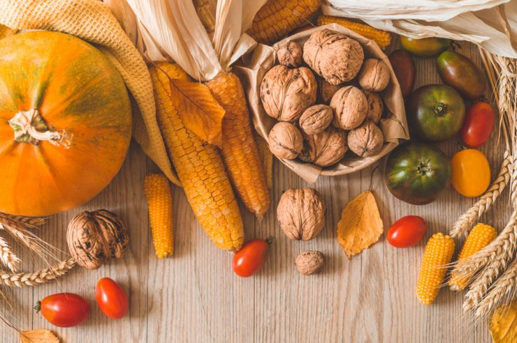Harvest, Autumn. Still life with Thanksgiving concept. Panoramic collection of fresh healthy fruits and vegetables. Healthy eating background. Vegetables on vintage rustic wooden background.
