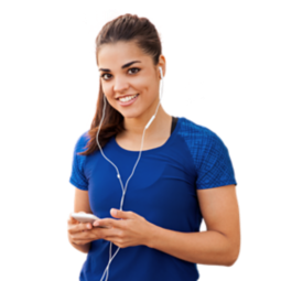 A women listening to music with her earphones