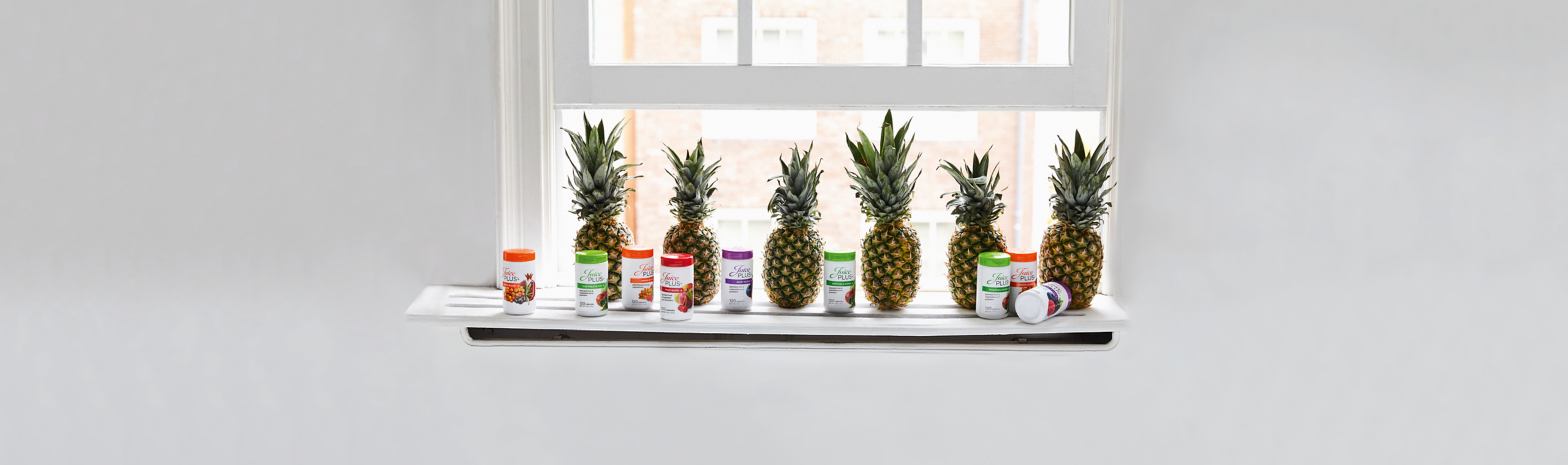 Juice Plus Capsules sitting on window shelf