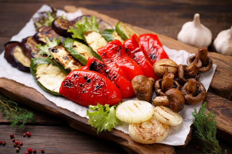 Summer snack, grill bar, tasty barbecue vegetables. Summer delicious healthy food for a big company of people, weekend bbq party, picnic food